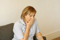 Woman in grief. Loss of a loved one royalty free stock image