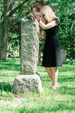 Woman Grieving at Grave Royalty Free Stock Photo