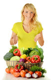 Woman with groceries isolated on white Royalty Free Stock Photography