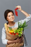 Woman with grocery bag Stock Images
