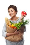 Woman with grocery bag Stock Photography