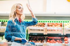 Woman in grocery shop. Side view of young woman waving to someone while shopping alone in grocery shop stock image
