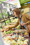 Woman at grocery store stock photography