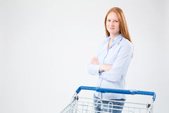 Woman with Grocery Store Shopping Cart Stock Photo