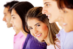 Woman in a group Stock Image