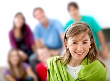 Woman with a group behind Stock Photo