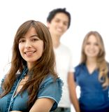 Woman and a group behind Stock Photos
