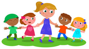 Woman with group of children vector Stock Photography