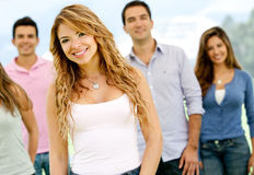 Woman with group of friends Stock Image