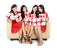 Woman group with many gift boxes Royalty Free Stock Images