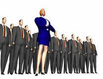Woman and group of men. 3d render - cartoon-style woman in front of group of men royalty free illustration