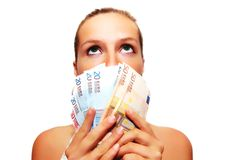 Woman with group of money Royalty Free Stock Image