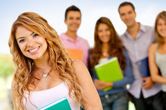 Woman with a group of students Royalty Free Stock Photo