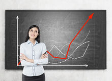 Woman  and growing graphs Stock Images