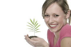 Woman with growing plant Royalty Free Stock Images