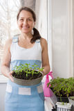 Woman  grows vegetables Royalty Free Stock Images