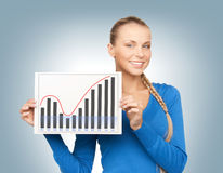 Woman with growth graph on board Royalty Free Stock Photo