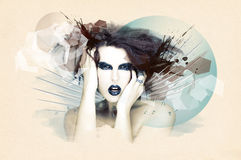 Woman in grunge artwork stock images