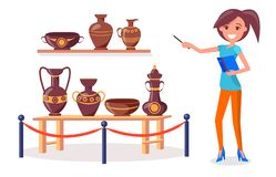 Woman Guide Points on Ancient Greek Pottery Vector. Woman guide points on ancient Greek pottery on wooden shelf and short table fenced off by metal railing stand Royalty Free Stock Images