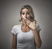 Woman with guilty face expression. Stock Image