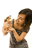 Woman and guinea pig Royalty Free Stock Image