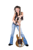 Woman with a guitar Stock Images