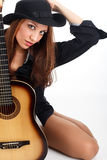 Woman with guitar. Stock Photos