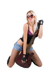 Woman and guitar isolated on white Royalty Free Stock Photography
