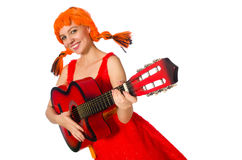 The woman with guitar isolated on white Royalty Free Stock Photography