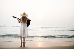 Woman Guitar Lady Rhythm Beach Holiday Girl Concept Stock Photo