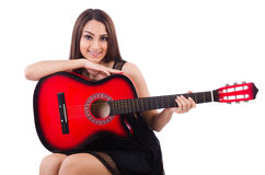 Woman guitar player isolated Royalty Free Stock Image