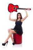 Woman guitar player isolated Stock Photography
