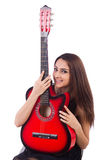 Woman guitar player isolated Royalty Free Stock Photos