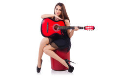 Woman guitar player isolated Royalty Free Stock Photography