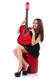 Woman guitar player isolated Stock Photo