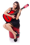 Woman guitar player isolated Royalty Free Stock Photo