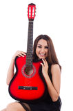 Woman guitar player isolated Stock Image