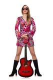 Woman guitar player isolated on white Royalty Free Stock Image