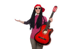 Woman guitar player isolated on white Stock Images