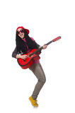 Woman guitar player isolated on white Royalty Free Stock Photos