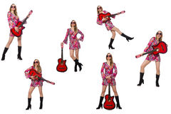 The woman guitar player isolated on white Royalty Free Stock Photography