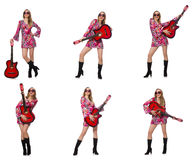 The woman guitar player isolated on white Stock Images