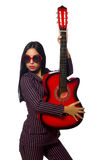Woman guitar player isolated on white Royalty Free Stock Images