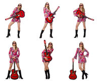 The woman guitar player isolated on white Royalty Free Stock Photo
