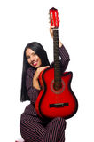 The woman guitar player isolated on white Stock Photos
