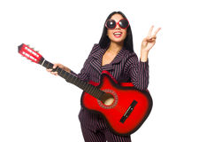 The woman guitar player isolated on white Stock Photo