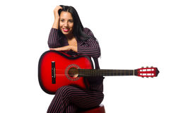 Woman guitar player isolated on white Stock Photo