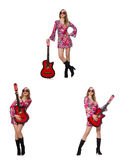 Woman guitar player isolated on white Stock Photos
