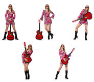 The woman guitar player isolated on white Royalty Free Stock Images