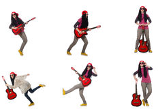 The woman guitar player isolated on white Royalty Free Stock Photos
